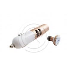 Bluetooth гарнитура (моно) Remax RB-T11C + АЗУ (золото)