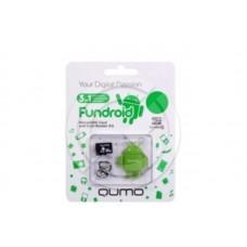 Карта памяти MicroSD 08 Gb Qumo Class 10 + USB картридер Fundroid (зеленый)