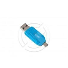Картридер Perfeo SD/MMC+Micro SD+MS+M2 + adapter with OTG, (PF-VI-O004) (синий)